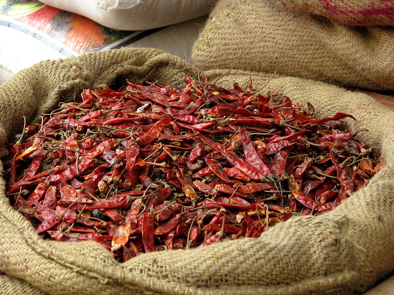Chilis at an India spice market. Photo by McKay Savage from London, UK. From Wikimedia Commons.