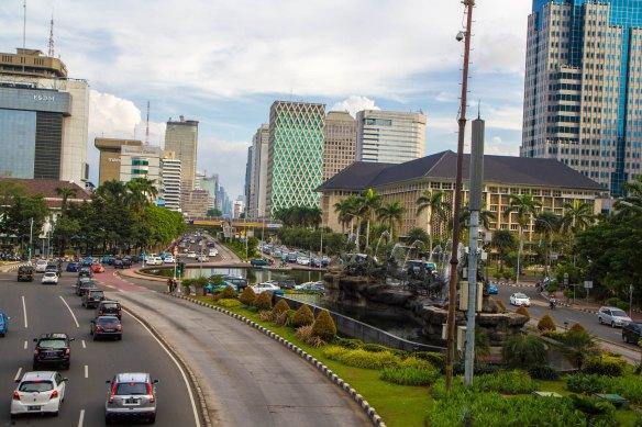 The skyline in Jakarta. By Faine Greenwood.