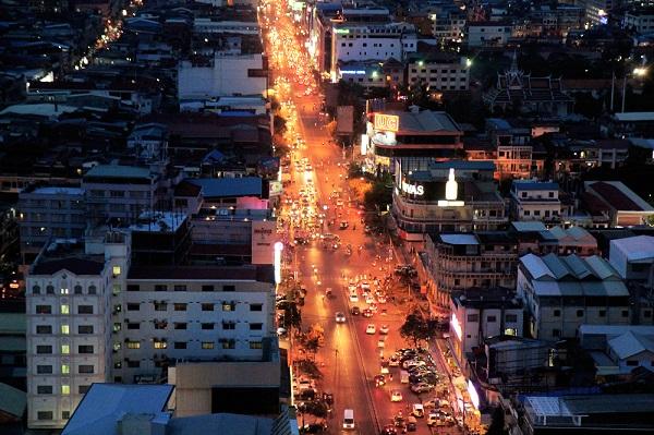 Phnom Penh, Cambodia, at night. By Faine Greenwood.