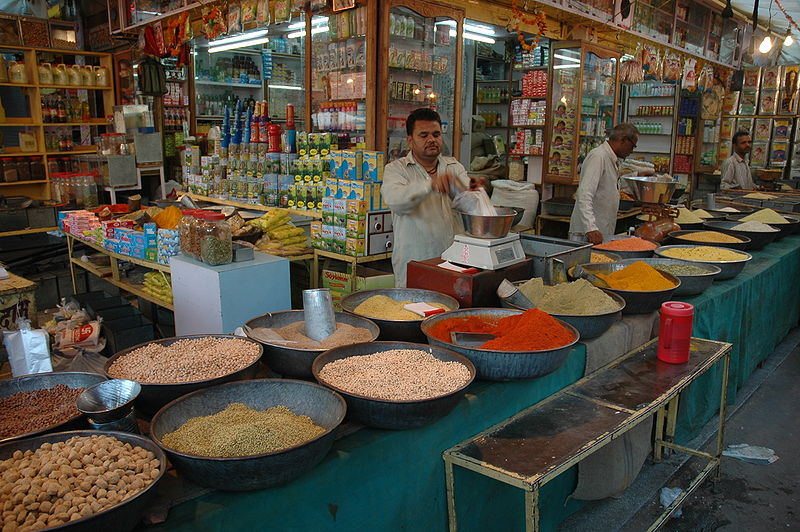 A spice market in India. Photo by Marc Shandro. From Wikimedia Commons.